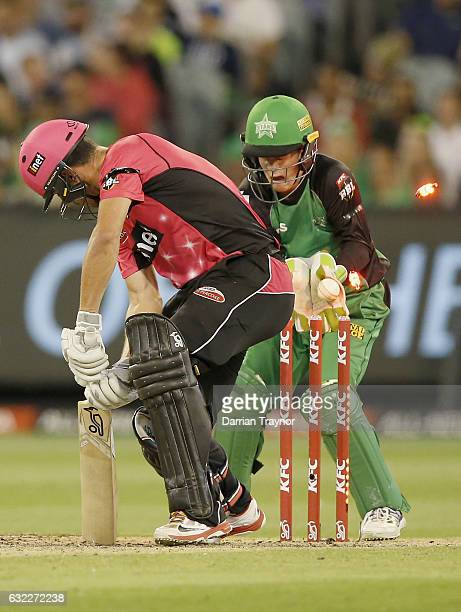 Moises Henriques of the Sydney Sixers is bowled by Liam Bowe of the Melbourne Stars during the Big Bash League match between the Melbourne Stars and...