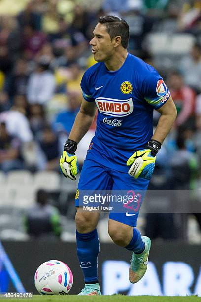 Moises Munoz goalkeeper of America drives the ball during a match between America and Veracruz as part of 11th round Apertura 2014 Liga MX at Azteca...