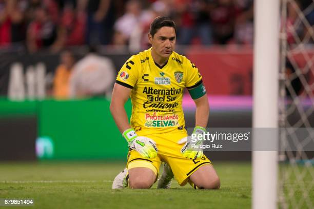 Moises Munoz goalkeeper of Chiapas reacts during the 17th round match between Atlas and Chiapas as part of the Torneo Clausura 2017 Liga MX at...