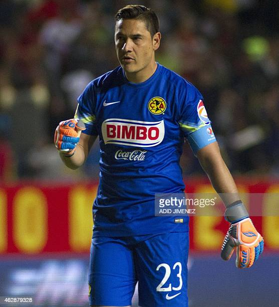 Moises Munoz of America celebrates the goal of his team against Morelia during their Mexican Clausura tournament football match at the Morelos...