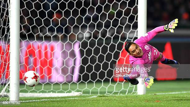 Moises Munoz of Club America attempts to save a penalty during the FIFA Club World Cup 3rd Place match between Club America and Atletico Nacional at...