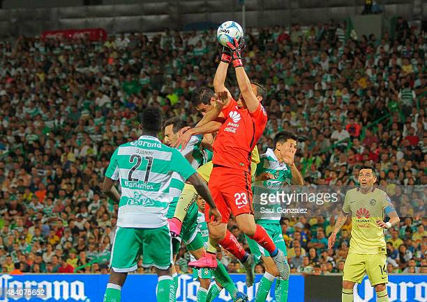 Moises Muñoz goalkeeper of America catches the ball during a 5th round match between Santos Laguna and America as part of the Apertura 2015 Liga MX...