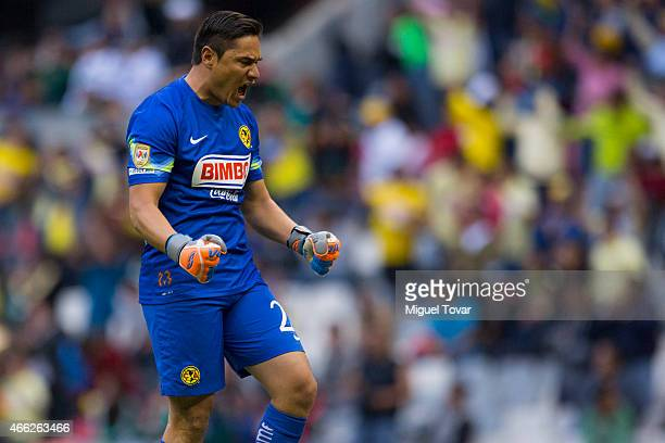 Moises Mu–ñoz goalkeeper of America celebrates after his team first goal during a match between America and Santos Laguna as part of 10th round...