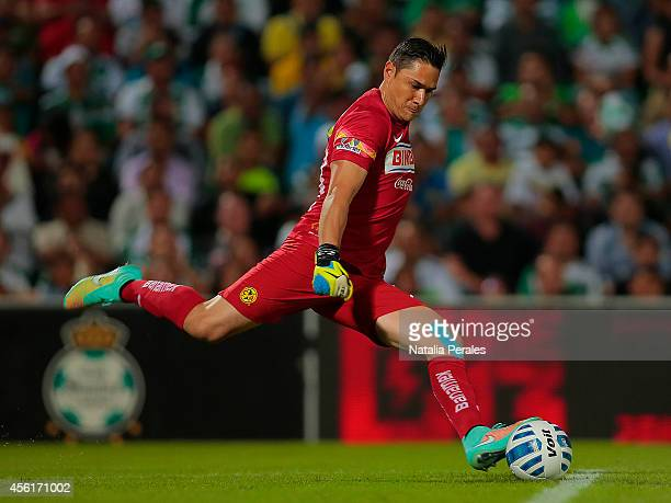 Moises Muñoz goalkeeper of America preapres a kickoff during a match between Santos Laguna and America as part of 10th round Apertura 2014 Liga MX at...