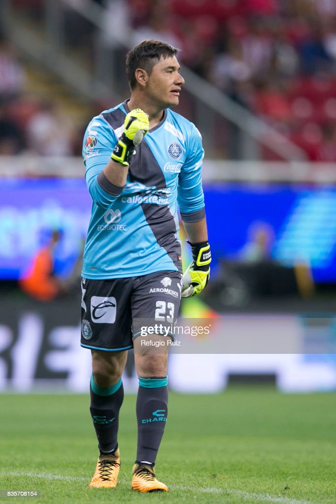 Moises Muñoz goalkeeper of Puebla, celebrates the first goal of his team scored by his teammate Alfonso Zamora (Not in Frame) during the fifth round match between Chivas and Puebla as part of the Torneo Apertura 2017 Liga MX at Chivas Stadium on August 19, 2017 in Zapopan, Mexico.