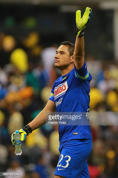 Moises Muñoz of America celebrates during a semifinal second leg match between America and Monterrey as part of the Apertura 2014 Liga MX at Azteca...