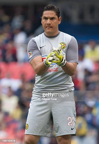 Moises Muñoz of America gestures during a a matche between America and Atlante as part of the Clausura 2013 Liga MX championship at Azteca Stadium on...