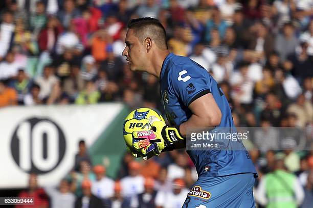 Moises Muñoz of Jaguares in action during a match between Jaguares against Tigres of UANL the Clausura Tournament 2017 league Bancomer MX at Victor...
