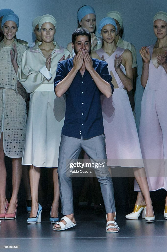 Moises Nieto walks the runway at the end of Angel Schlesser show during Mercedes Benz Fashion Week Madrid Spring/Summer 2015 on September 12 2014 in...