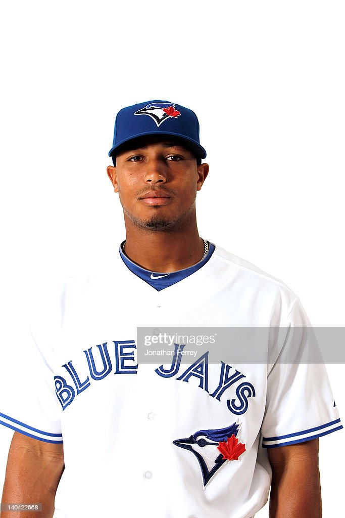 Moises Sierra #74 of the Toronto Blue Jays poses for a portrait at Dunedin Stadium on March 2, 2012 in Dunedin, Florida.