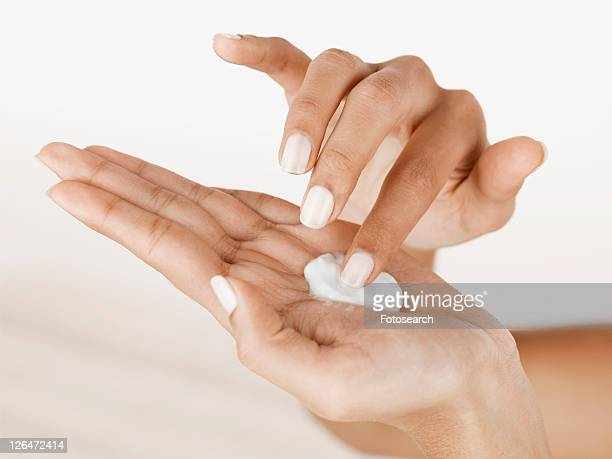 Moisturizer on palm of hand (close-up)