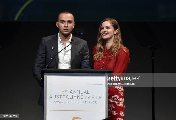 Mojean Aria and Ashleigh Cummings attend the 6th Annual Australians in Film Award Benefit Dinner at NeueHouse Hollywood on October 18 2017 in Los...
