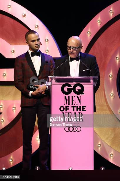 Mojean Aria and Kim Ledger accepts the GQ Legacy Award during the GQ Men Of The Year Awards Ceremony at The Star on November 15 2017 in Sydney...