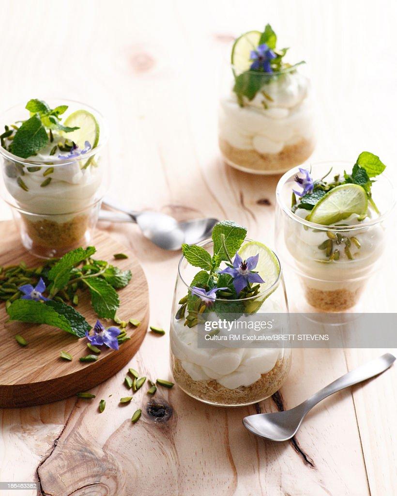 Mojito cheesecake with mint leaf garnish : Stock Photo