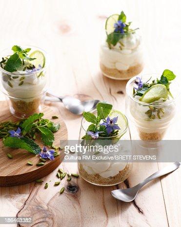 Mojito cheesecake with mint leaf garnish