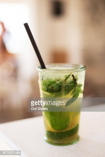 Mojito cocktail with fresh mint and lime