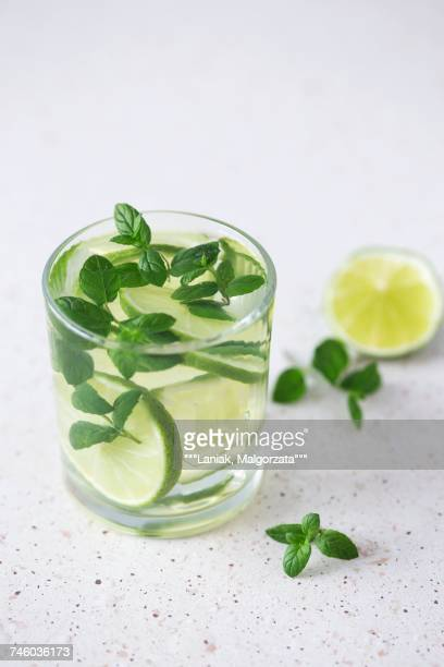 A mojito made with rum, limes, fresh mint and ice