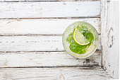 Refreshing mint cocktail mojito with rum and lime, cold drink or beverage with ice on white wooden background, top view