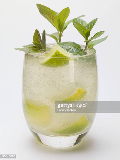 Mojito with lime and mint, close up