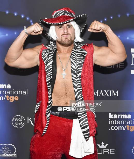Mojo Rawley arrives at the 2017 MAXIM Halloween Party at LA Center Studios on October 21 2017 in Los Angeles California