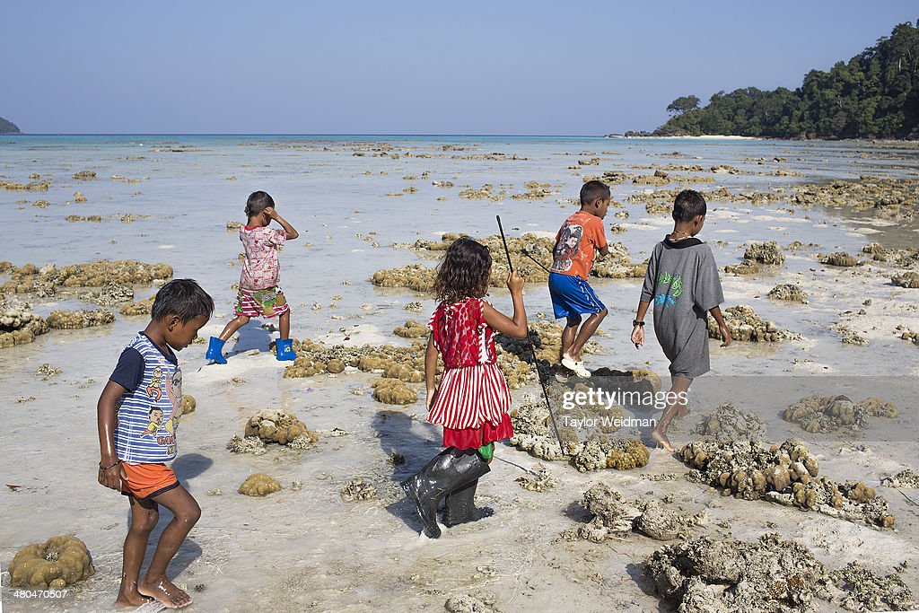 Moken children forage for food during low tide Often called sea nomads or sea gypsies the Moken are a seafaring people who for centuries lived...