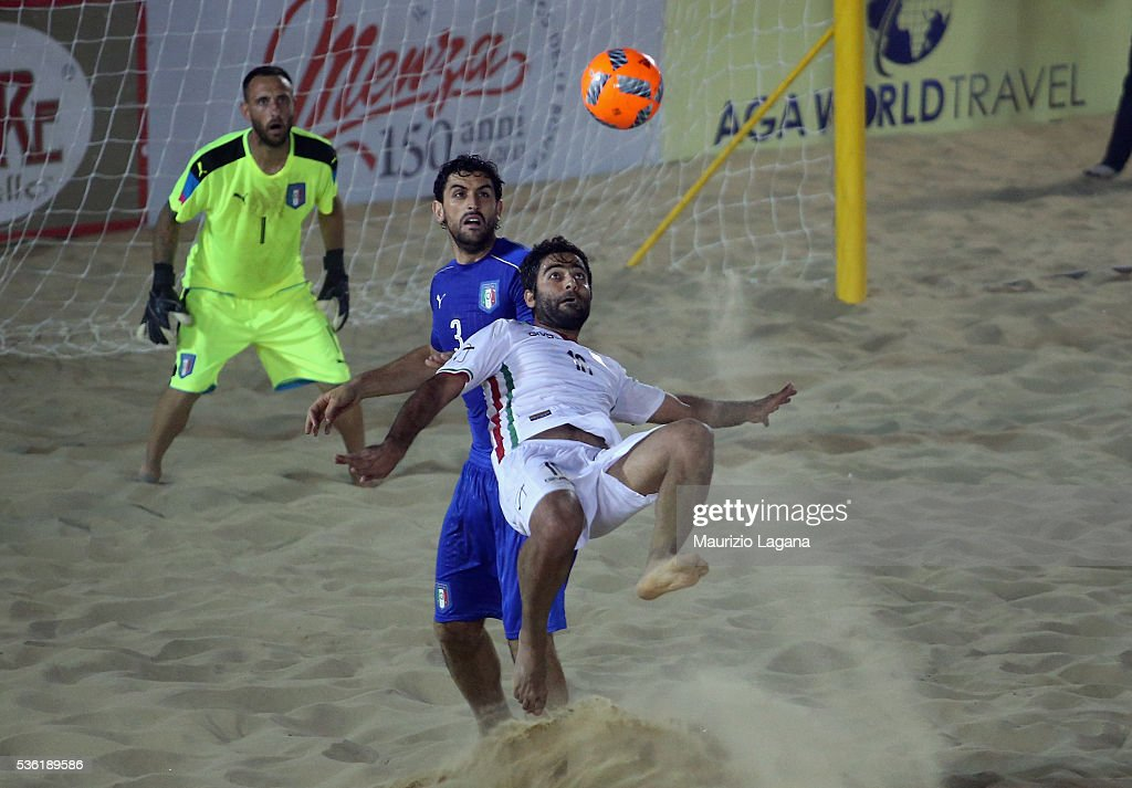 Mokhtari of Iran during the beach soccer international frienldy between Italy and Iran on May 31, 2016 in Catania, Italy.