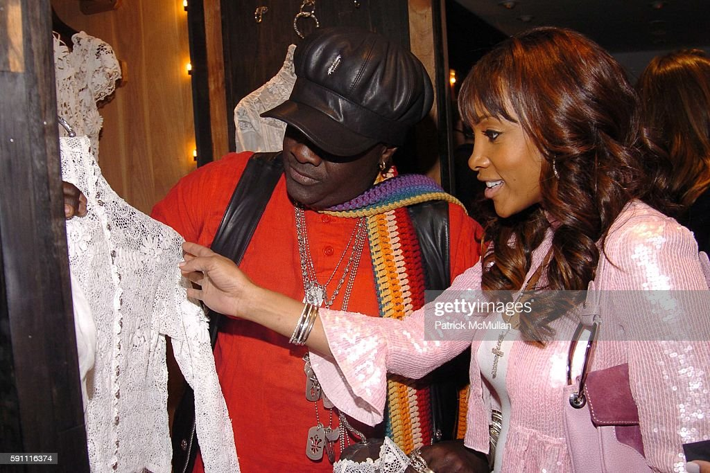 Moko and Vivica A Fox attend CHROME HEARTS Party for ELLE Accessories Magazine hosted by Richard Laurie Lynn Stark at Chrome Hearts on April 14 2005...
