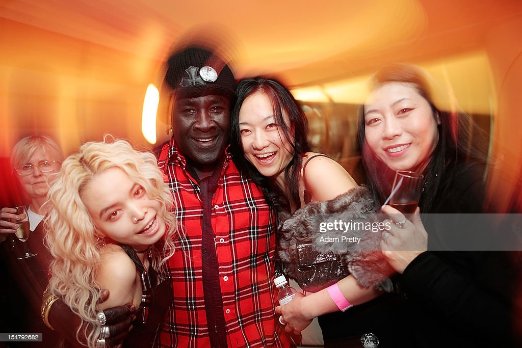 Moko of Chrome Hearts and guests pose for a photograph during the ELLEgirl Night in association with Chrome Hearts at Fiat Caffe on October 26, 2012 in Tokyo, Japan.