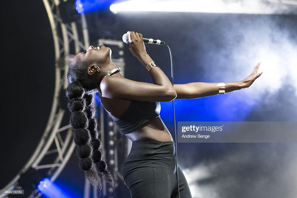 Moko performs on stage at Beacons Festival at Funkirk Estate on August 9 2014 in Skipton United Kingdom