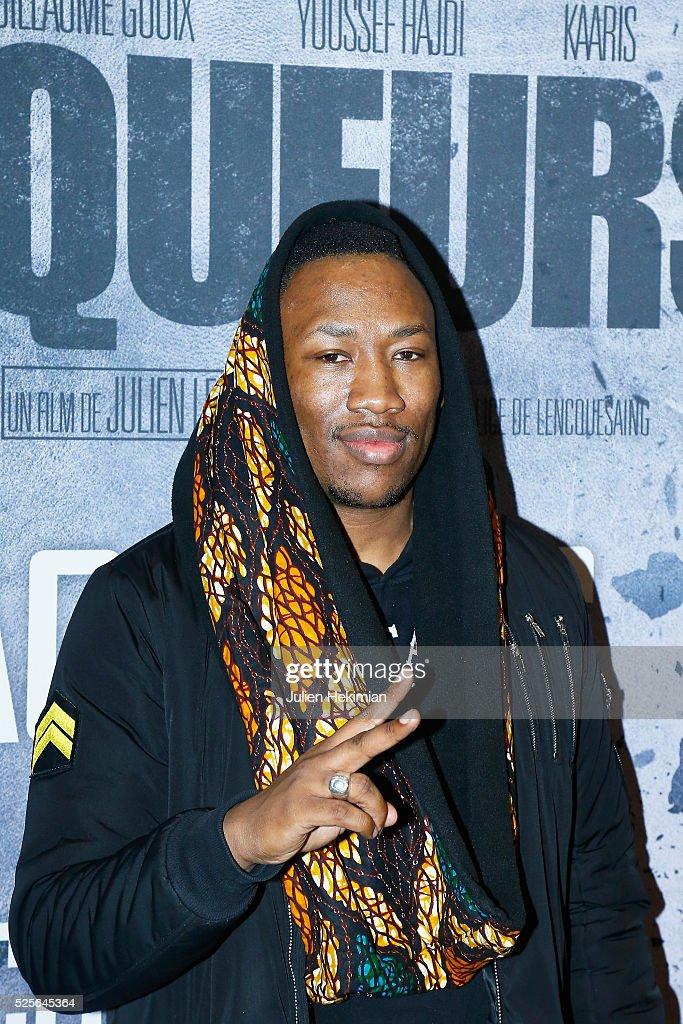 Mokobe attends 'Braqueurs' Premiere at UGC Cine Cite des Halles on April 28, 2016 in Paris, France.