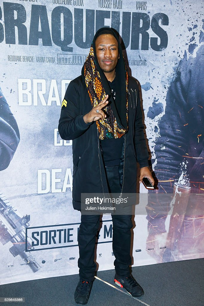 Mokobe attends 'Braqueurs' Premiere at UGC Cine Cite des Halles on April 28, 2016 in Paris, France.