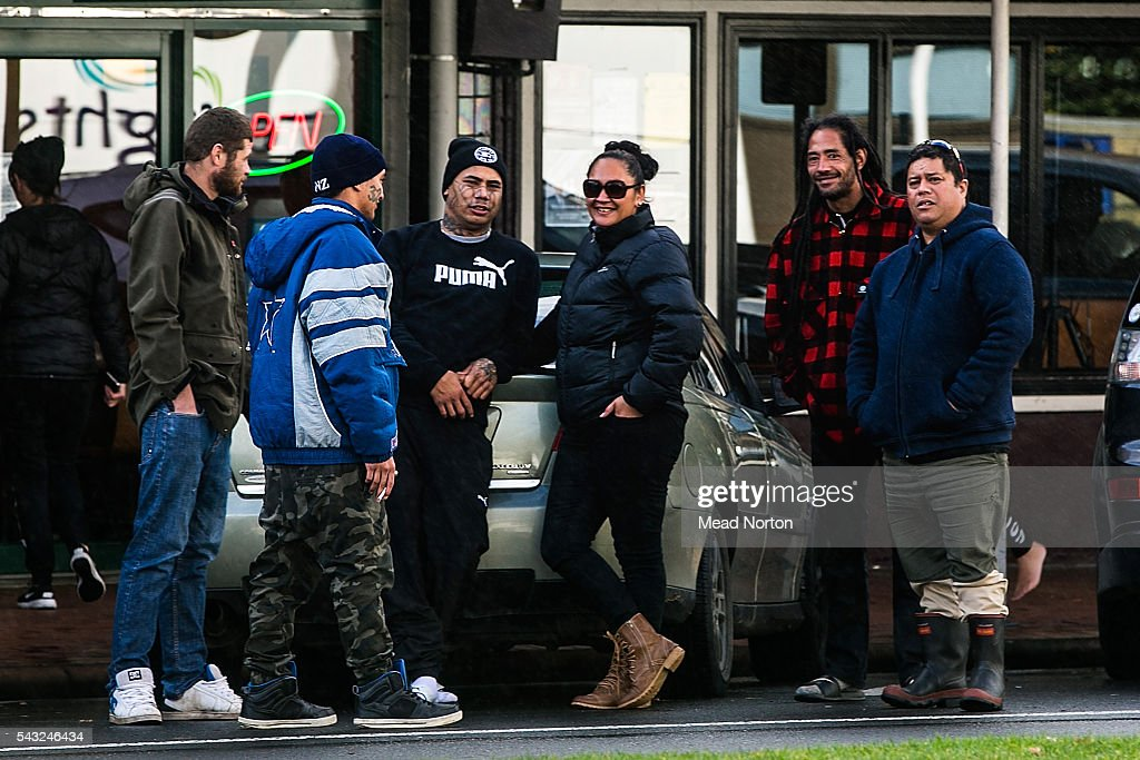 Moko's father surrounded by friends outside the district court after finding out his son's killers recieved the maximum sentance for manslaughter- 17 years on June 27, 2016 in Rotorua, New Zealand. Three year old toddler Moko Rangitoheriri died on August 10, 2015 from injuries he received during prolonged abuse and torture at the hands of his carers. His killers Tania Shailer and David Haerewa were sentenced at Rotorua High Court today.