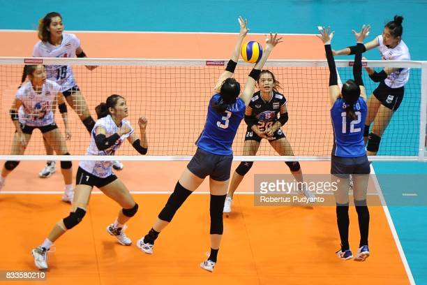 Moksri ChatchuOn of Thailand spikes during the 19th Asian Senior Women's Volleyball Championship 2017 Final match between Thailand and Japan at...