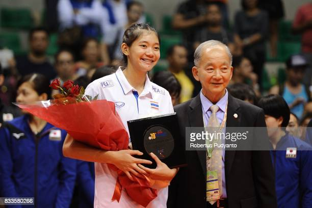 Moksri ChatchuOn of Thailand takes Best Outside Spiker Awards during the 19th Asian Senior Women's Volleyball Championship 2017 at Alonte Sports...