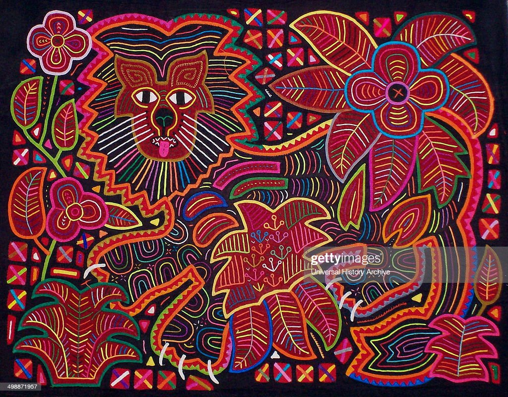Mola textile by Kuna Indian artist, depicting a lion. From the San Blas Archipelago, Panama. Reverse applique design worn on female blouse.