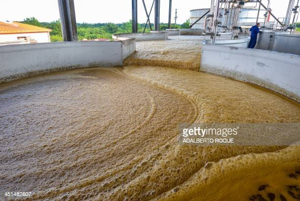 Molasses is prepared at the factory of the Cuban rum Havana Club in San Jose de las Lajas in the Cuban province of Mayabeque on November 22 2013 day...