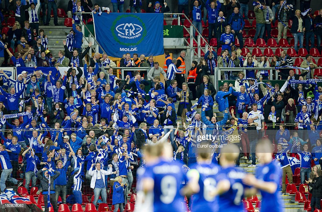 Molde FK supporters during the UEFA Europa League group stage match between FC Kobenhavn and Molde FK on September 20 2012 at Parken in Copenhagen...