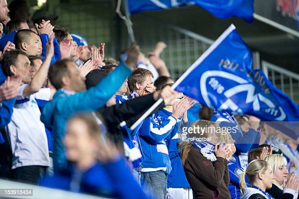 Molde FK supporters during the UEFA Europa League group stage match between Molde FK and VfB Stuttgart held on October 4 2012 at the Molde Stadion in...