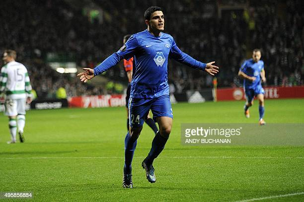 Molde FK's Norwegian forward Mohamed Elyounoussi celebrates scoring his team's first goal during a UEFA Europa League Group A football match between...