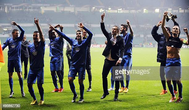 Molde players celebrate following the UEFA Europa League Group A football match between Celtic and Molde FK at Celtic Park in Glasgow Scotland on...
