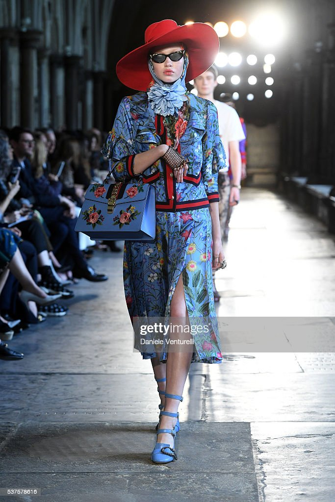 gucci 2017. a moldel walk the runway during gucci cruise 2017 fashion show at cloisters of
