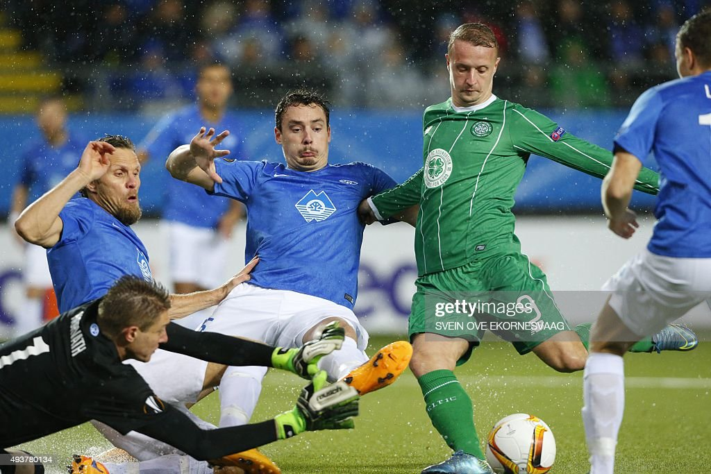 Molde's goalkeeper Ethan Horvath (L-R), Daniel Berg Hestad, Vegard Forren and Celtic's Leigh Griffiths vie for the ball during the UEFA Europa Leage football match Molde FK vs Celtic FC in Molde on October 22, 2015.