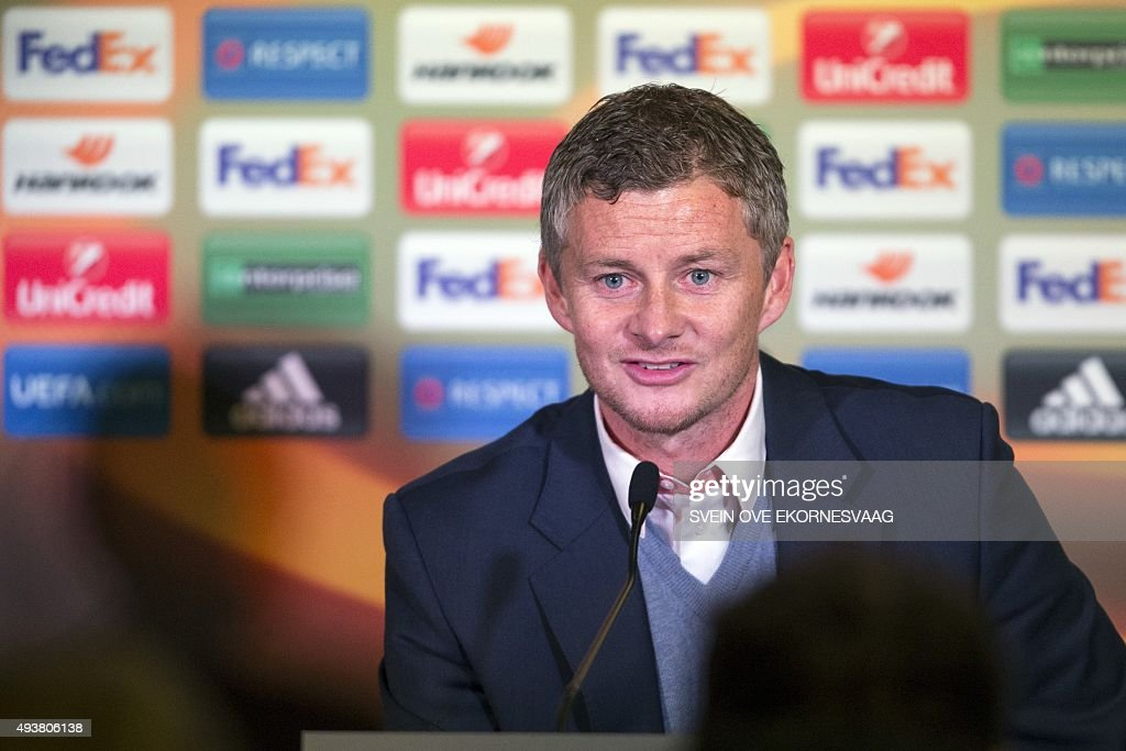 Molde's manager Ole Gunnar Solskjaer at the press conference after the UEFA Europa League Group A football match between Molde FK vs Celtic FC at the Aker Stadium in Molde on October 22, 2015.