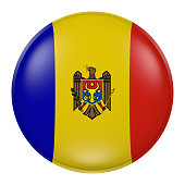 3d rendering of  Moldova flag on a button