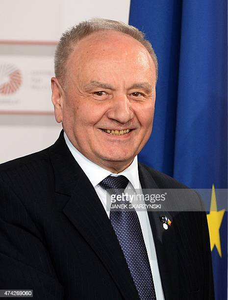 Moldovan President Nicolae Timofti arrives at the House of the Blackhead for an informal dinner at the start of the fourth European Union eastern...