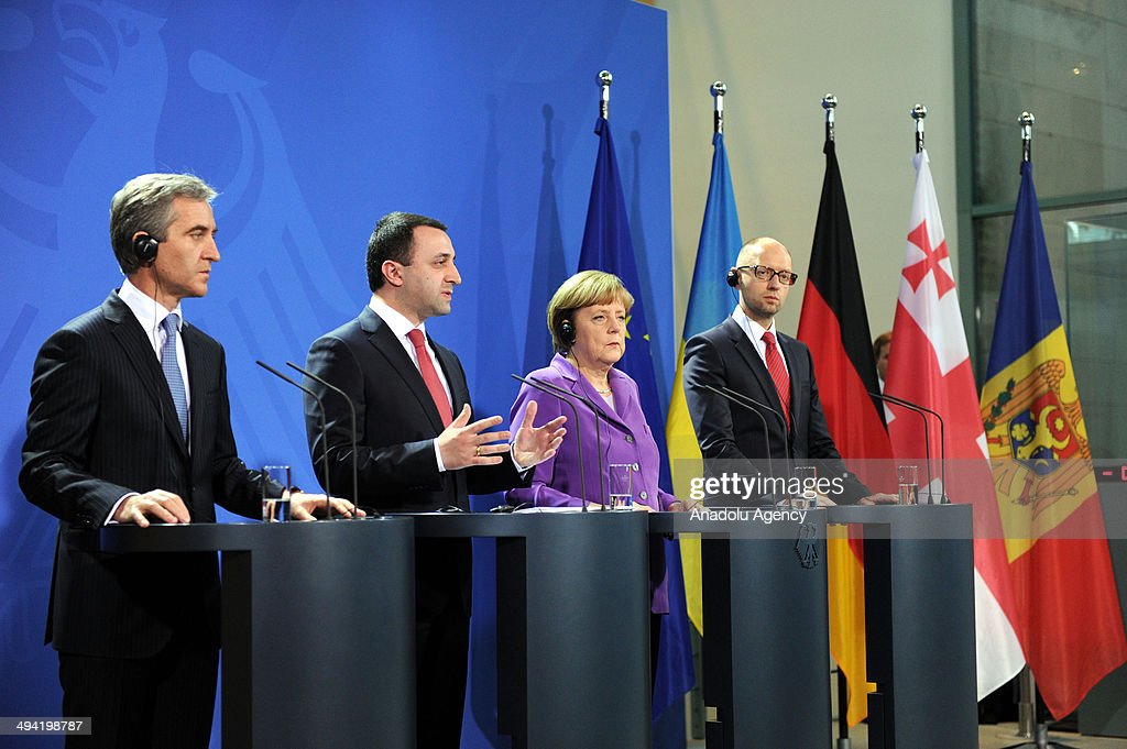 Moldovan Prime Minister Iurie Leanca, Georgian Prime Minister Irakli Garibashvili , German Chancellor Angela Merkel and interim Ukrainian Prime Minister Arseniy Yatsenyuk hold a press conference about ongoing conflict in eastern Ukraine at the Chancellery in Berlin, Germany, on May 28, 2014.