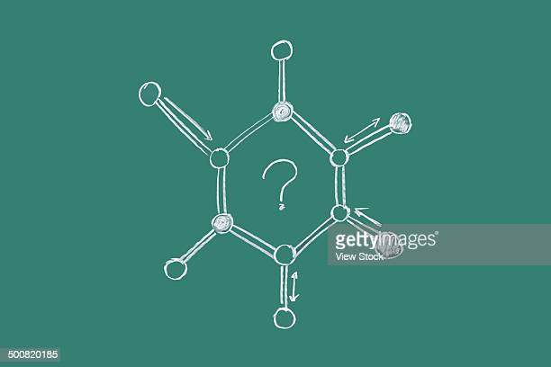 Molecular formula drawn on blackboard