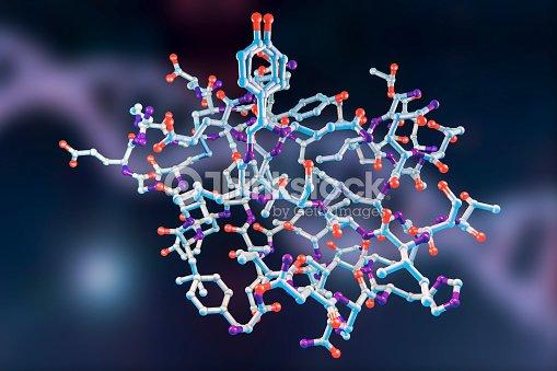 molecular model of insulin molecule ストックフォト thinkstock