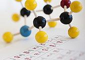 Molecule model on Periodic table