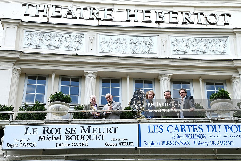 Moliere 2014 of best comedian in 'Le Pere' Robert Hirsch, honorary Moliere 2014 for all his career and actor from 'Le Roi se meurt' <a gi-track='captionPersonalityLinkClicked' href=/galleries/search?phrase=Michel+Bouquet&family=editorial&specificpeople=2025171 ng-click='$event.stopPropagation()'>Michel Bouquet</a>, author of 'La mere' and 'Le pere' Florian Zeller, adapter of 'Les cartes du pouvoir' Ladislas Chollat and Director of the Theater and actor from 'Les cartes du pouvoir' Francis Lombrail attend Theater Hebertot presents its 2014-2015 Events and Theater Plays. Held at Theatre Hebertot on June 25, 2014 in Paris, France.